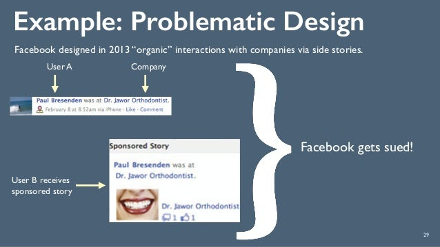 """Example: Problematic Design 29 Facebook gets sued! Facebook designed in 2013 """"organic"""" interactions with companies via sid..."""