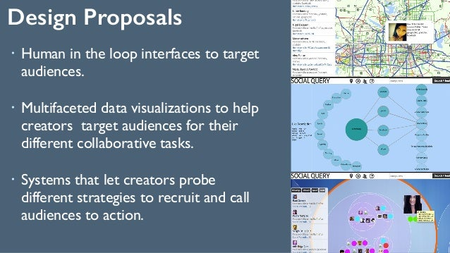 Design Proposals 38 ! Human in the loop interfaces to target audiences. ! Multifaceted data visualizations to help creato...
