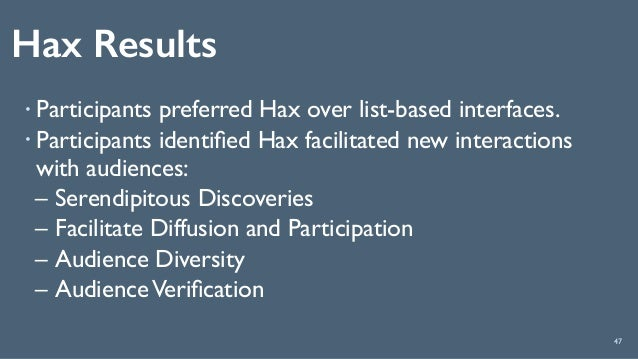 Hax Results 47 ! Participants preferred Hax over list-based interfaces. ! Participants identified Hax facilitated new inter...