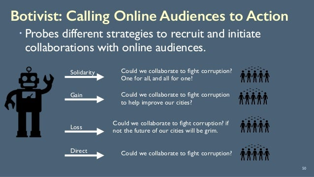 Botivist: Calling Online Audiences to Action 50 ! Probes different strategies to recruit and initiate collaborations with ...