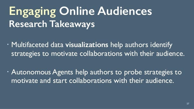 Engaging Online Audiences Research Takeaways 57 ! Multifaceted data visualizations help authors identify strategies to mo...