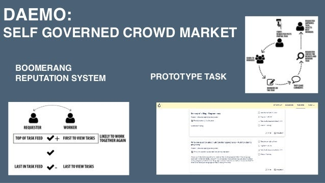 DAEMO:  SELF GOVERNED CROWD MARKET BOOMERANG REPUTATION SYSTEM PROTOTYPE TASK