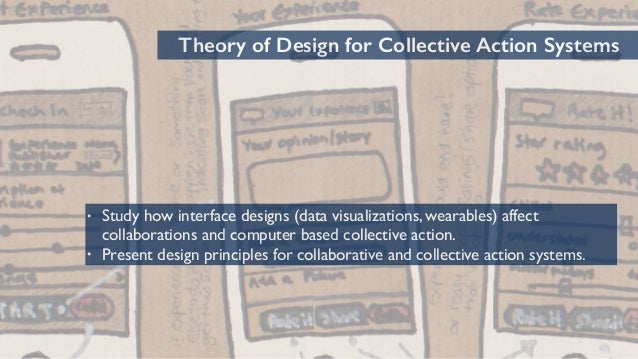 69 Theory of Design for Collective Action Systems • Study how interface designs (data visualizations, wearables) affect co...