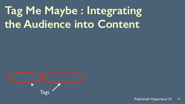 Tag Me Maybe : Integrating the Audience into Content 80Published: Hypertext'15 Tags