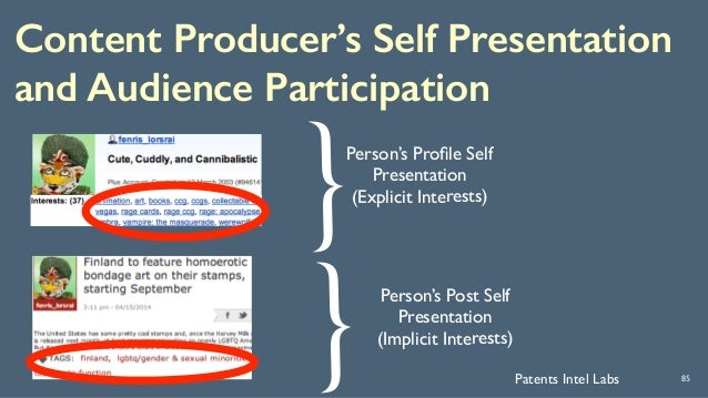Content Producer's Self Presentation and Audience Participation 85 { Person's Post Self Presentation (Implicit Interests) ...