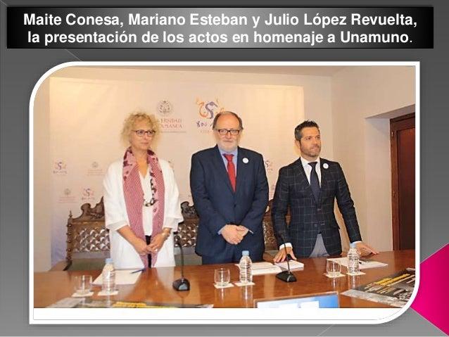 Maite Conesa, Mariano Esteban y Julio López Revuelta, la presentación de los actos en homenaje a Unamuno.