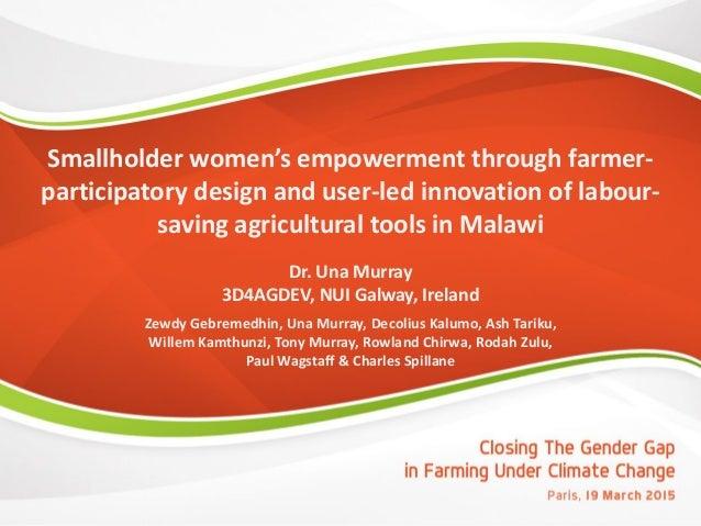 Smallholder women's empowerment through farmer- participatory design and user-led innovation of labour- saving agricultura...