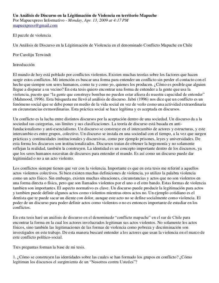 Un Análisis de Discurso en la Légitimación de Violencia en territorio MapuchePor Mapuexpress Informativo - Monday, Apr. 13...