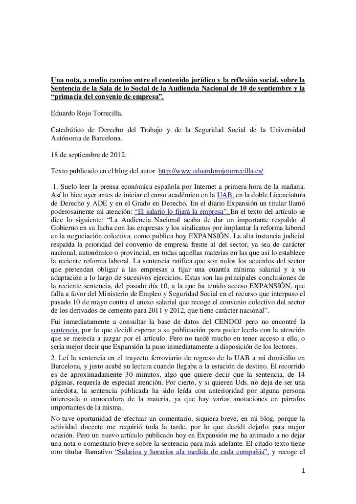 Una nota, a medio camino entre el contenido jurídico y la reflexión social, sobre laSentencia de la Sala de lo Social de l...