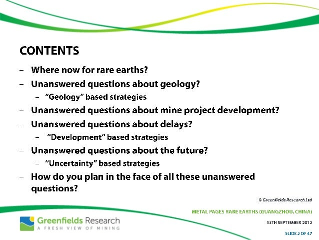 Unanswered Questions About Rare Earth Mine Projects - Sept 2012 - Greenfields Research Slide 2