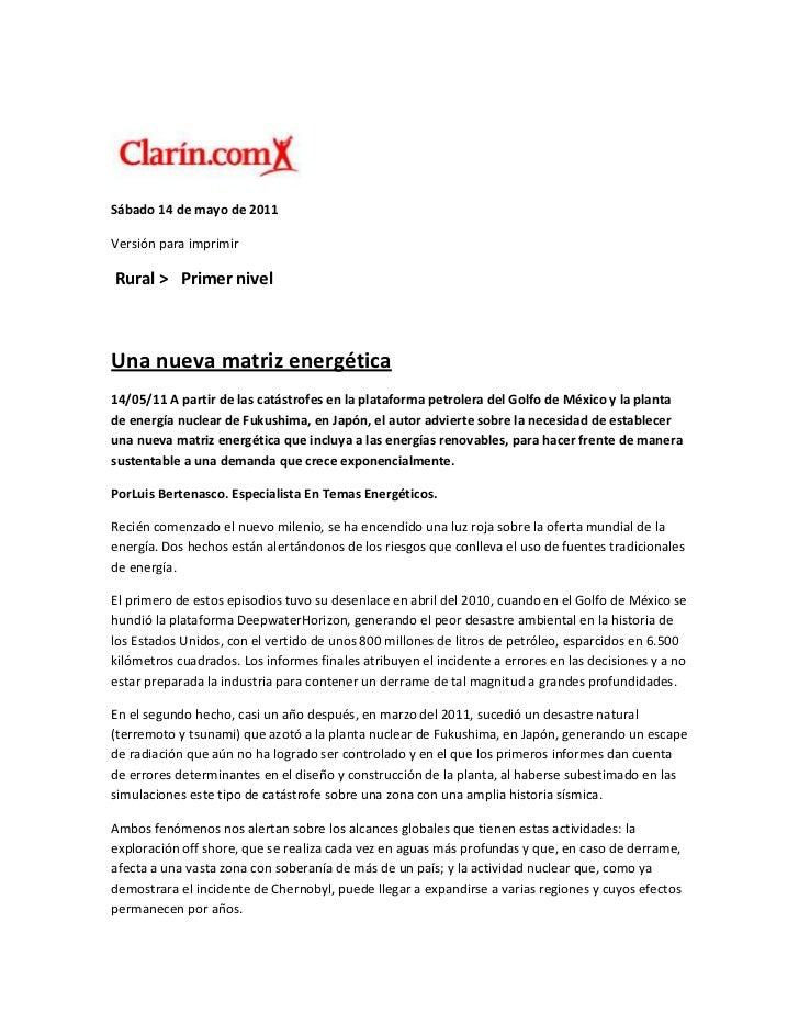 Sábado 14 de mayo de 2011<br />Versión para imprimir<br /> Rural >   Primer nivel<br />Una nueva matriz energética<br />14...
