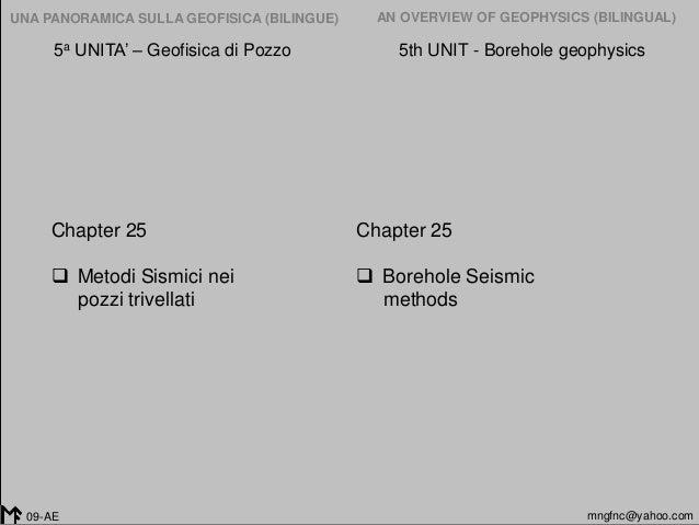 2005-2014 UNA PANORAMICA SULLA GEOFISICA (BILINGUE) AN OVERVIEW OF GEOPHYSICS (BILINGUAL) mngfnc@yahoo.com09-AE 5a UNITA' ...