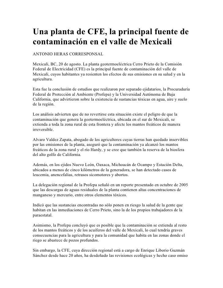 Una planta de CFE, la principal fuente de contaminación en el valle de Mexicali ANTONIO HERAS CORRESPONSAL  Mexicali, BC, ...
