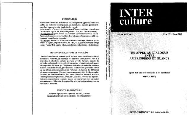 Un appel au dialogue entre amerndiens et blanc iim hiver1991