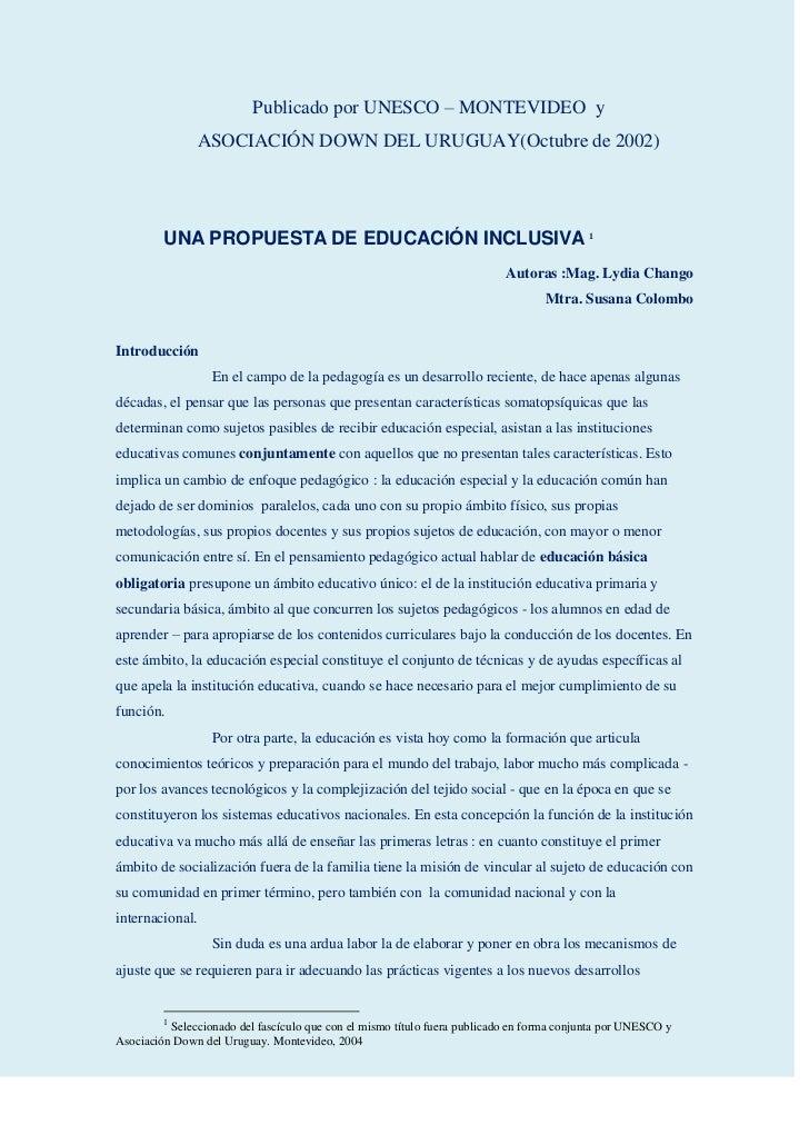 Publicado por UNESCO – MONTEVIDEO y               ASOCIACIÓN DOWN DEL URUGUAY(Octubre de 2002)         UNA PROPUESTA DE ED...