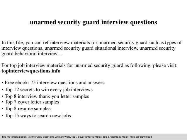 Unarmed Security Guard Interview Questions In This File, You Can Ref  Interview Materials For Unarmed ...  Security Jobs Resume