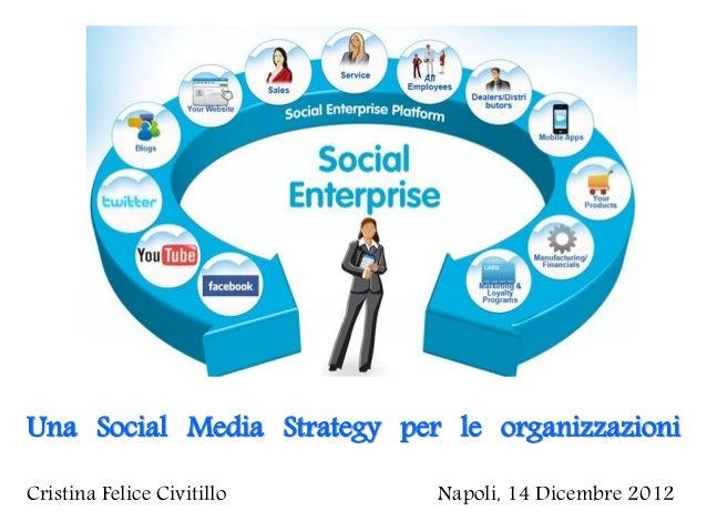 Una Social Media Strategy per le organizzazioniCristina Felice Civitillo    Napoli, 14 Dicembre 2012