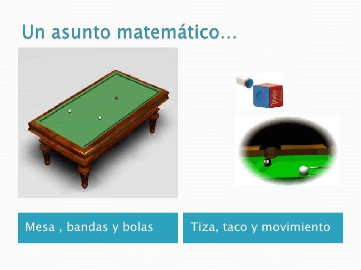 Un asunto matemático…<br />Mesa , bandas y bolas  <br />Tiza, taco y movimiento<br />