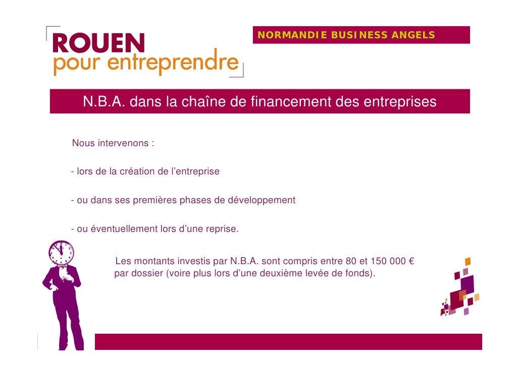 NORMANDIE BUSINESS ANGELS       N.B.A. dans la chaîne de financement des entreprises  Nous intervenons :  - lors de la cré...