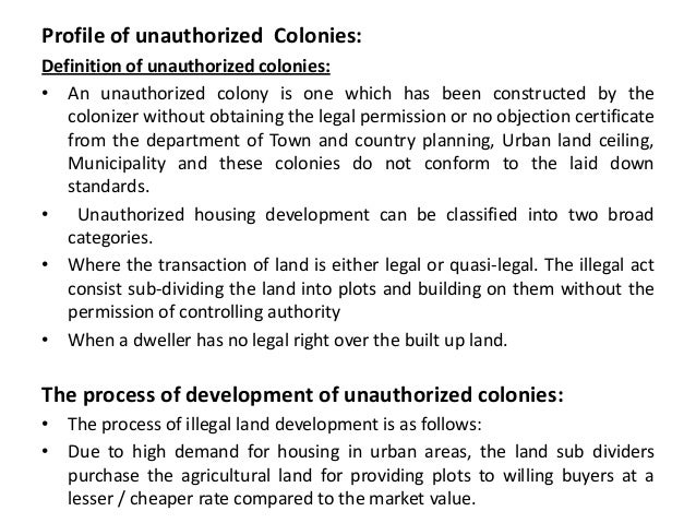 Unauthorised Colonisation in Meerut
