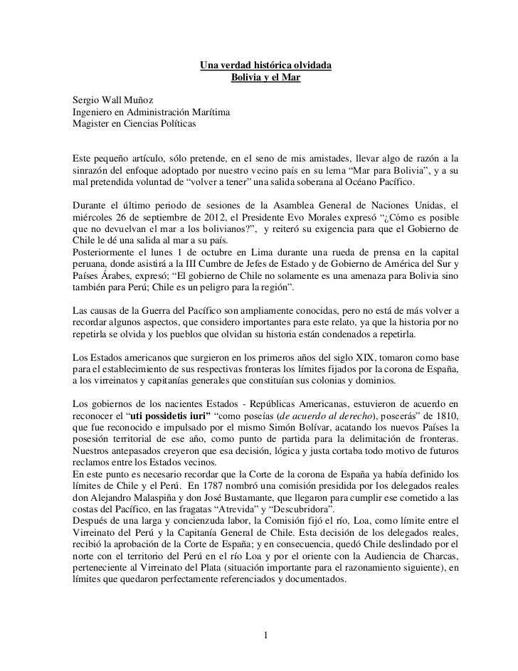 Una verdad histórica olvidada                                      Bolivia y el MarSergio Wall MuñozIngeniero en Administr...