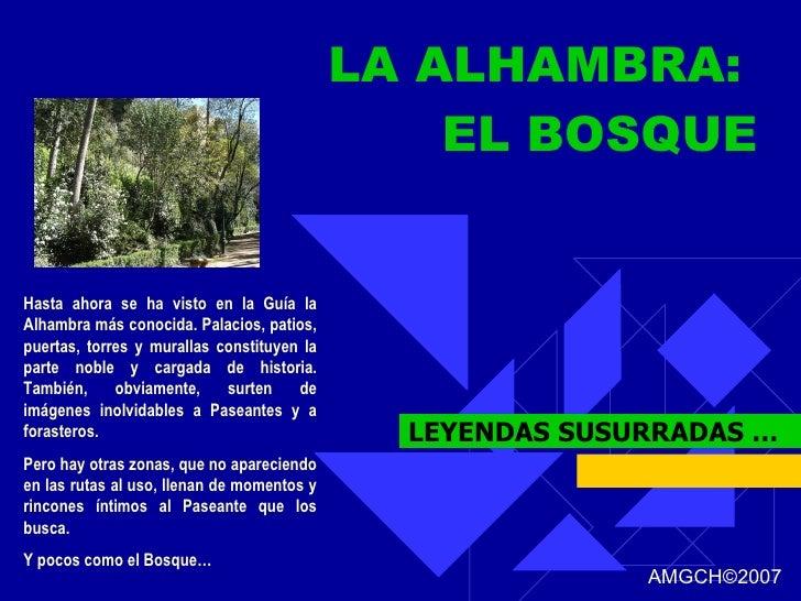 LA ALHAMBRA:  EL BOSQUE LEYENDAS SUSURRADAS … Hasta ahora se ha visto en la Guía la Alhambra más conocida. Palacios, patio...