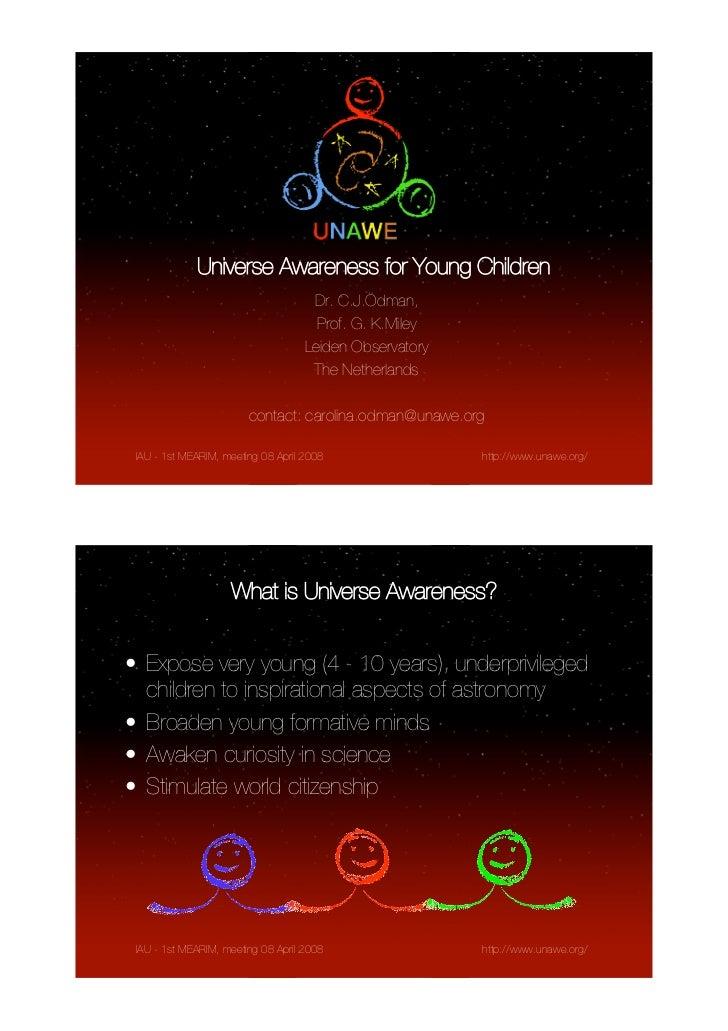 Universe Awareness for Young Children                                     Dr. C.J.Ödman,                                  ...