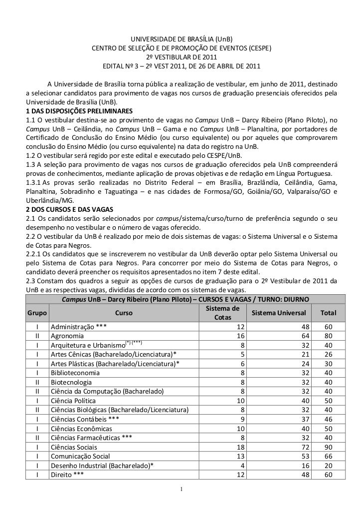 UNIVERSIDADE DE BRASÍLIA (UnB)                      CENTRO DE SELEÇÃO E DE PROMOÇÃO DE EVENTOS (CESPE)                    ...