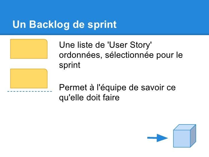 Un Backlog de sprint        Une liste de User Story        ordonnées, sélectionnée pour le        sprint        Permet à l...