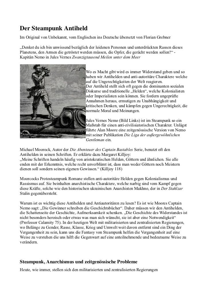"""DerSteampunkAntiheldIm Original von Unbekannt, vom Englischen ins Deutsche übersetzt von Florian Grebner""""Denkst du ich b..."""