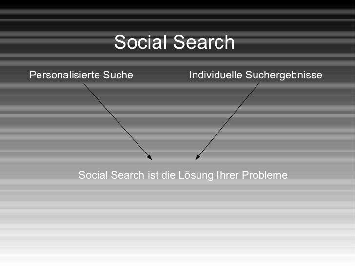 Social SearchPersonalisierte Suche          Individuelle Suchergebnisse         Social Search ist die Lösung Ihrer Probleme