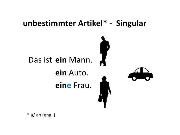 unbestimmterArtikel* -  Singular<br />  Das ist<br />einMann. <br />ein Auto.<br />eine Frau.<br />a<br />a<br />a<br />a<...