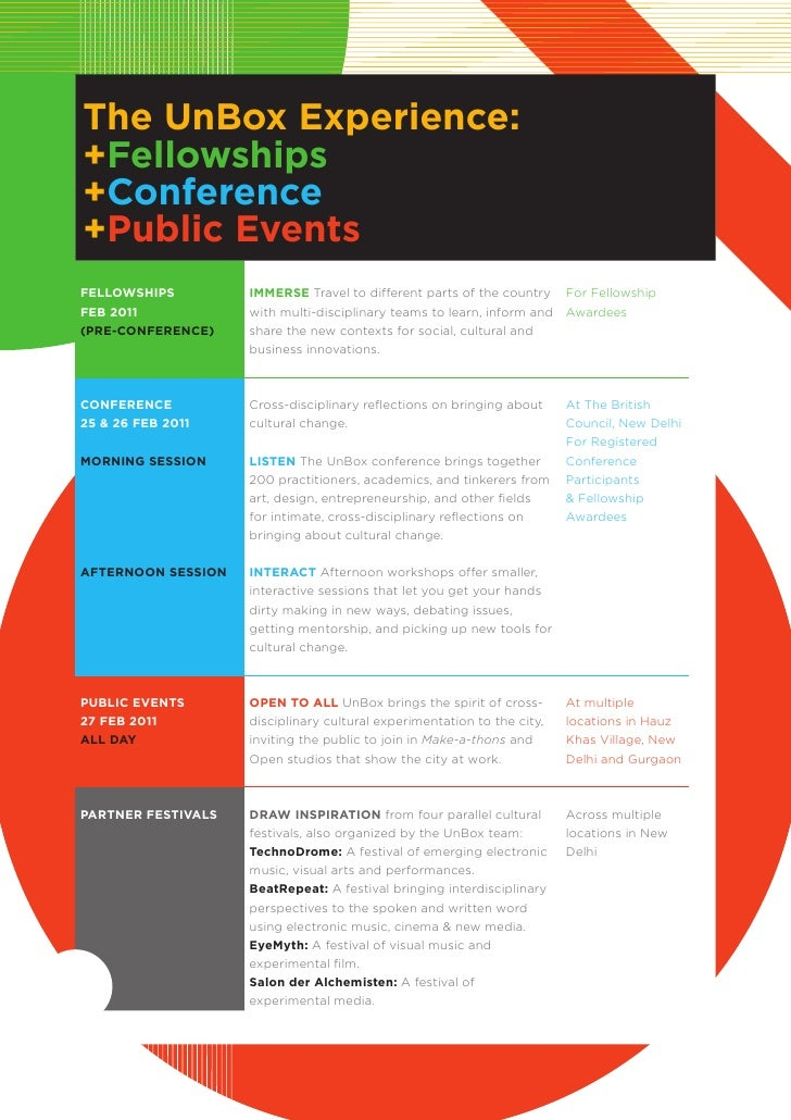 The unBox experience:+Fellowships+conference+public eventsFellowships         iMMerse Travel to different parts of the cou...