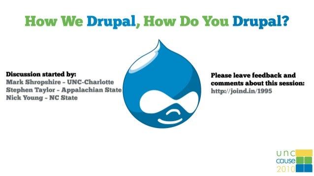 Drupal at UNC Charlotte Mark Shropshire - mdshrops@uncc.edu Business & Technology Applications Analyst Student Union, Acti...