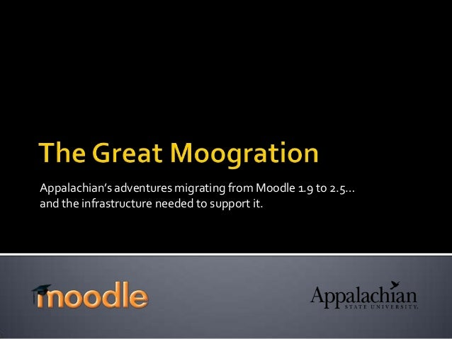 Appalachian's adventures migrating from Moodle 1.9 to 2.5… and the infrastructure needed to support it.