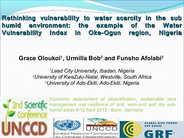 Rethinking vulnerability to water scarcity in the subhumid environment: the example of the WaterVulnerability Index in Oke...