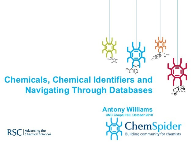 Chemicals, Chemical Identifiers and Navigating Through Databases Antony Williams UNC Chapel Hill, October 2010