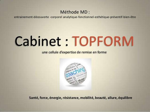 Méthode MD : entrainement-découverte -corporel analytique-fonctionnel-esthétique-préventif-bien-être  Cabinet : TOPFORM un...