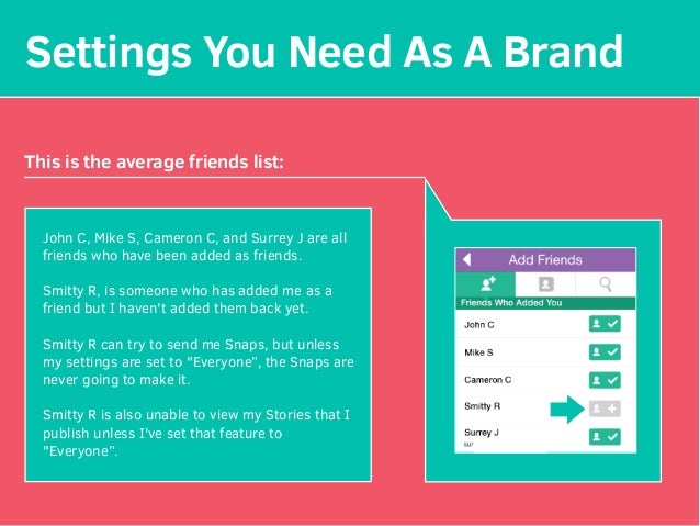 Settings You Need As A Brand This is the average friends list: John C, Mike S, Cameron C, and Surrey J are all friends who...