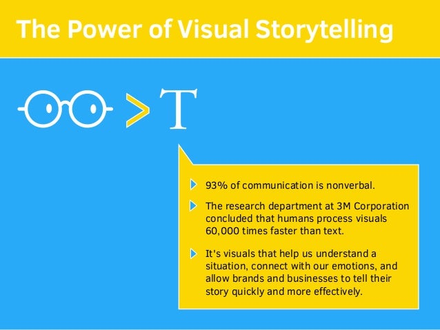 The Power of Visual Storytelling T> 93% of communication is nonverbal. The research department at 3M Corporation concluded...