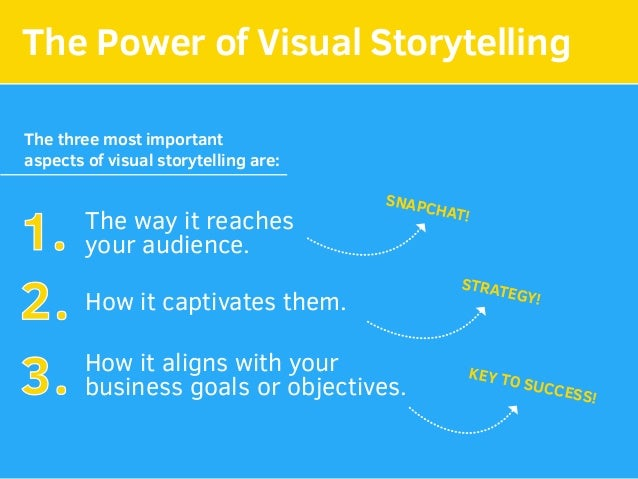 The Power of Visual Storytelling The three most important aspects of visual storytelling are: The way it reaches your audi...