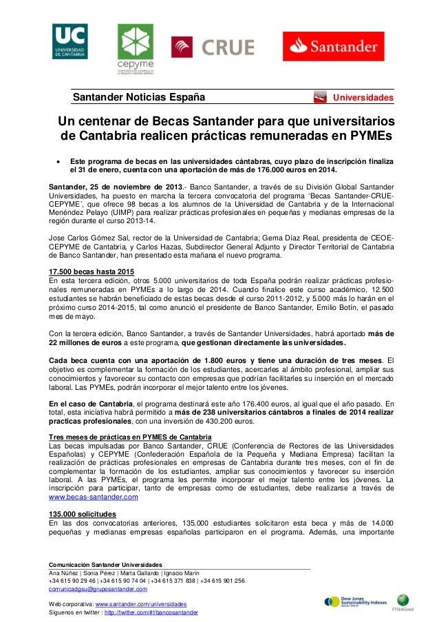 Santander Noticias España  Universidades  Un centenar de Becas Santander para que universitarios de Cantabria realicen prá...