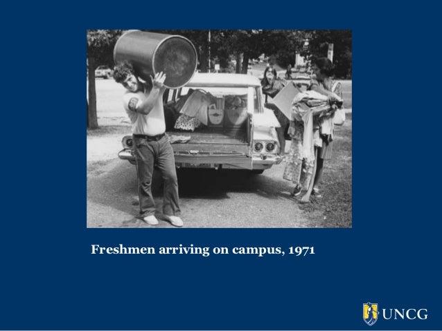 Freshmen arriving on campus, 1971