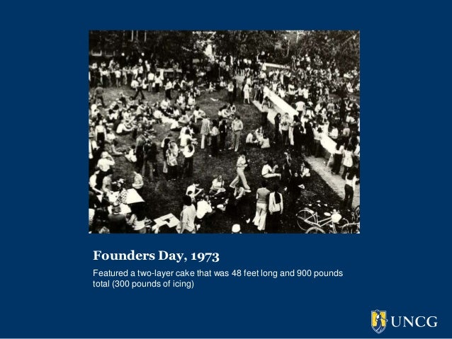Founders Day, 1973Featured a two-layer cake that was 48 feet long and 900 poundstotal (300 pounds of icing)