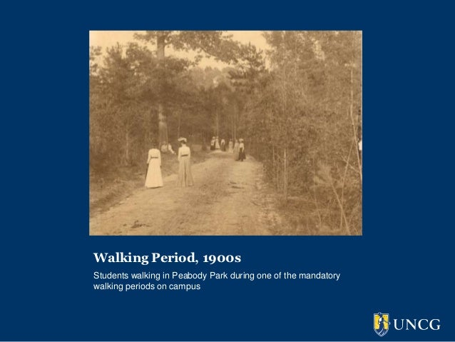 Walking Period, 1900sStudents walking in Peabody Park during one of the mandatorywalking periods on campus