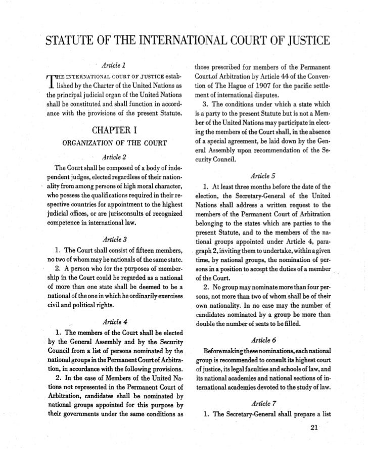 An analysis of the functions of the international court of justice as a principal judicial organ of