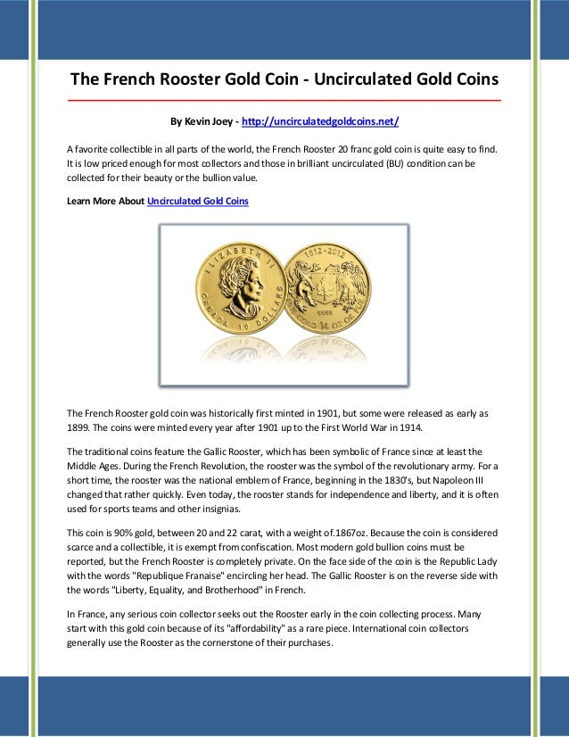 The French Rooster Gold Coin - Uncirculated Gold Coins ___________________________________________________________________...