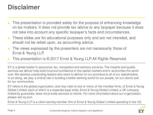 Unclaimed property historic litigation and legislation May 8, 2017 Slide 2