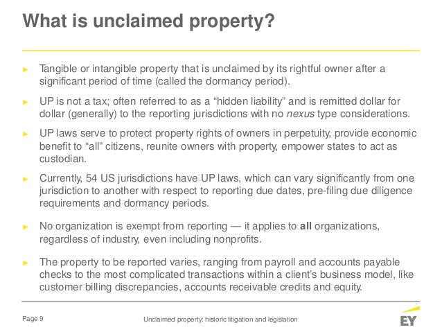 Unclaimed Property Historic Litigation And Legislation May 8 2017