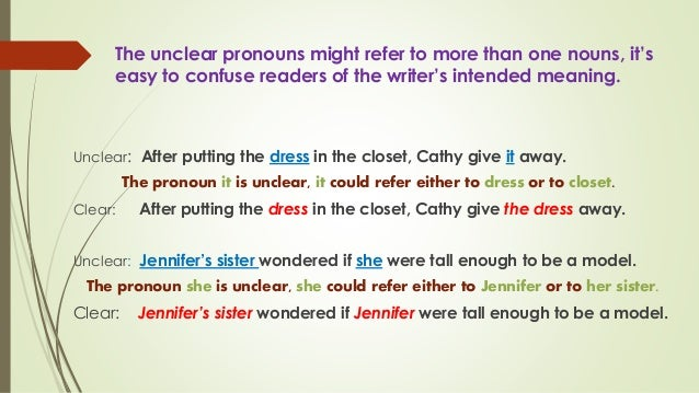 an introduction to vague pronoun references No comma after an introductory element in a sentence missing preposition  comma splice no comma in a compound sentence vague pronoun references .